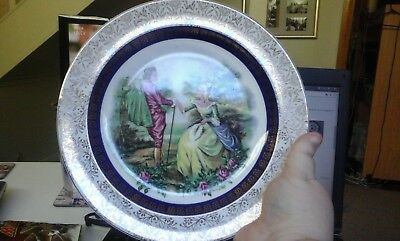 Antique Alpine white ironstone wood&sons decorative plate picture of man&woman