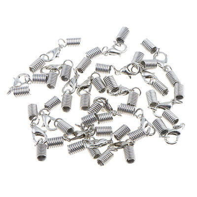 20Pcs Silver Cord End Crimp Clasp for Necklace Bracelet with Lobster Clasp