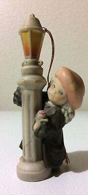 1996 Enesco Kim Anderson Pretty as a Picture Xmas Ornament Girl Leaning on Pole