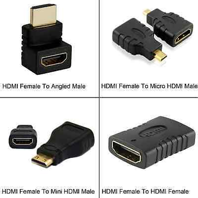 2x HDMI Female To HDMI Mini Micro Angled Male Female Gender Adapters For HDTV