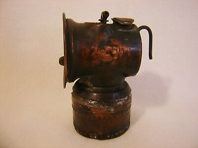 Antique Justrite Carbide Copper Miners Lamp Beaded Bottom Early Pat 1901 - 1913