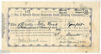 Share Scrip - Mining. 1887 No.2 South Great Eastern Gold Mining Co - Gympie Qld