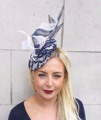 Large Navy Blue White Feather Hat Fascinator Races Formal Hatinator Beaded 4747