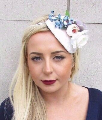 White Ivory Blue Lilac Rose Berry Flower Fascinator Hair Headband Races Hat 4748