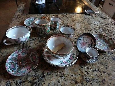 Antique Lot Of Chinese Export Rose Mandarin, Rose Medallion Demi Cups & Saucers