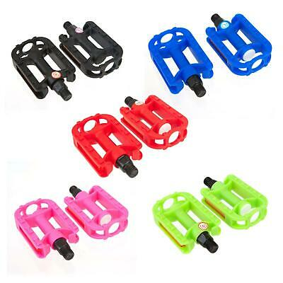 """KIDS BIKE PEDALS - in Black Green Pink Red Blue (1/2"""" Thread) Childrens Bicycle"""