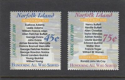 NORFOLK Island 2000 ANZAC  Day set of 2 MNH - Military Honour Rolls for WARs.