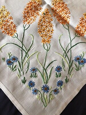 Lovely Vintage Floral Hand Embroidered Large Square Cream Irish Linen Tablecloth