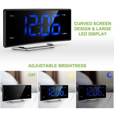 Projection Digital FM Snooze Curved Alarm Clock LCD Ceiling Dual Alarms USB NEW