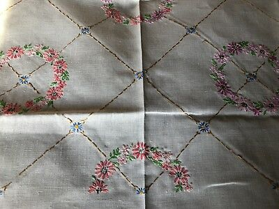 Vintage Floral Hand Embroidered Medium Square Cream Irish Linen Tablecloth