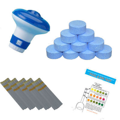 20g Chlorine Tablets Pool Hot Tub + Dispenser and Testing strips Full Kit