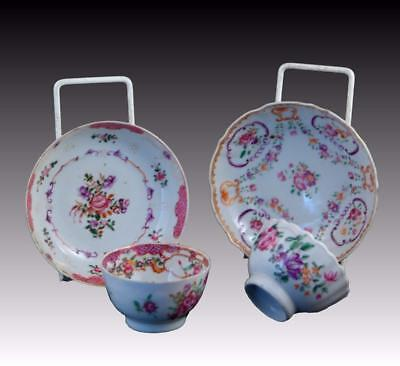 Antique Hand Painted 18Th Century Chinese Teabowls & Saucers