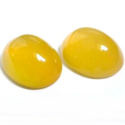 NATURAL YELLOW CHALCEDONY GEMSTONES LOOSE OVAL CABOCHON 11 x 8.7 mm PAIR