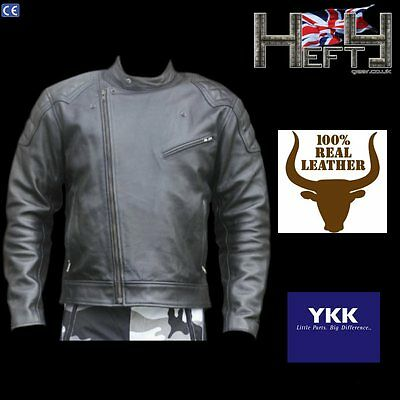 Classic Motorcycle Leather Jacket in Grade A Cowhide by Hefty