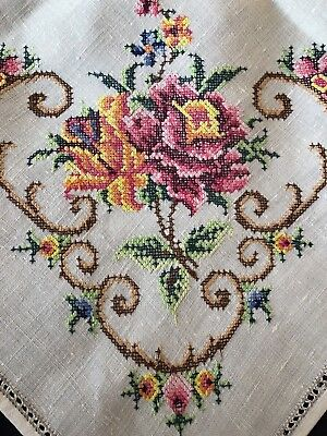 Vintage Cross Stitch Hand Embroidered Large Square Cream Irish Linen Tablecloth