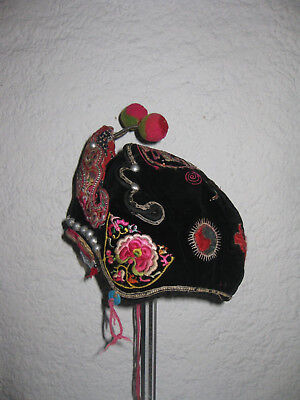 ANTIQUE/VINTAGE CHINESE CHILD'S FESTIVAL HAT, embroidered ethic costume,