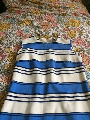 Vintage 60's White & Blue Striped Crimplene Dress Sz 12 Nautical
