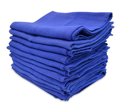 100 Premium Blue Huck Towels Glass Cleaning Lintless Detailing Fast Free Ship H*