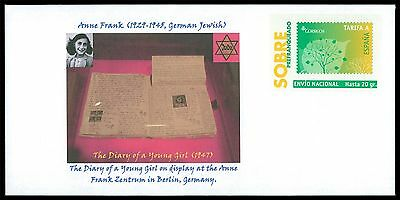 SPAIN PRIVAT-GA GANZSACHE ANNE FRANK JUDAICA JEWISH ANTI-FASCISM RARE!! cd25