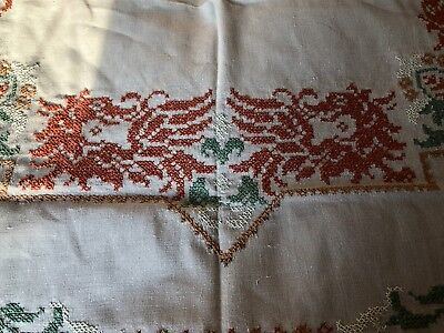 Vintage Cross Stitch Hand Embroidered Large Oblong German Ecru Linen Tablecloth