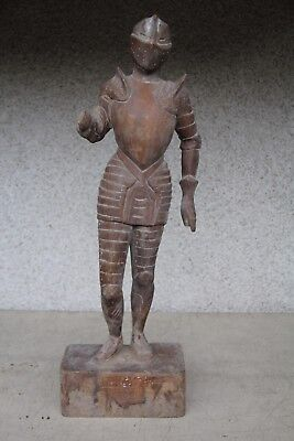 Unusual Hand Carved Wood Knight Sculpture