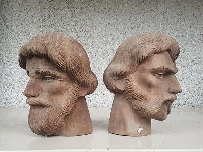 2 X Stunning Hand Carved Wooden Male Heads