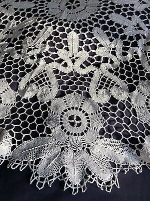 Superb Vintage Cream Cotton Reticella Needle Lace Large Circular Tablecloth