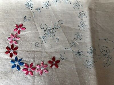 Unfinished Hand Embroidered Floral Beige Irish Linen Tablecloth To Embroider