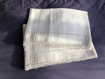 Rare Pair Vintage Hand Worked Cypriot Lefkara Work Lace White Linen Pillow Cases