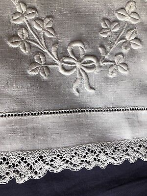 Vintage Antique White Irish Linen Table Runner Scarf Crochet Edging & Embroidery