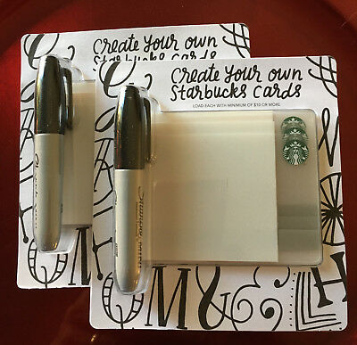New 2-Starbucks-Create-Your-Own-Cards-3-Packs W/sharpies - Fast Shipping