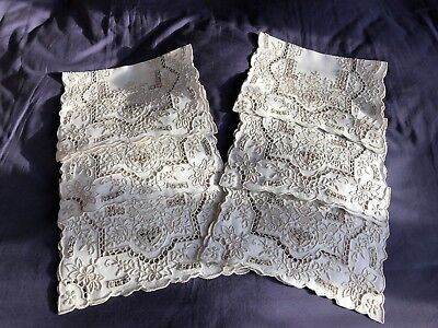 Lovely Vintage Irish Linen Madeira Style Work Embroidered Set 6 Table Place Mats