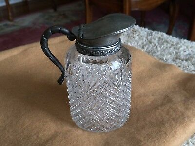 Antique Cut Glass Syrup Pitcher