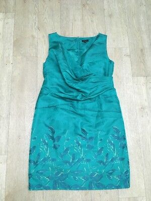 ALEXON Stunning Green Crossover Bust Knee Length Party Occasion Dress Size 20 VG