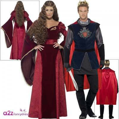 Medieval Queen & King Arthur Deluxe Adult Costume Couples Fancy Dress Outfit