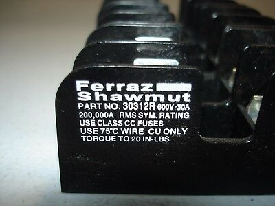 *LOT*(3) Ferraz Shawmut 30312R Fuse Holder 30A 600V  *NEW*