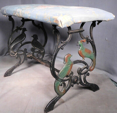 Antique Art Deco Figural cast Iron Vanity Stool Polychrome Exotic Love Bird OLD