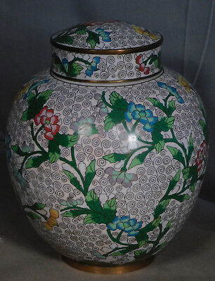 Antique Cloisonné Enamel Chinese Ginger jar Covered Vase SWEET Colors Tree Peony