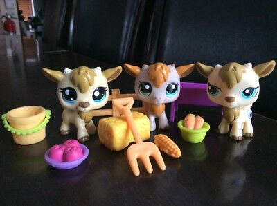 ✨ AUTHENTIC ✨ LPS Littlest Pet Shop RARE Lot Of 3 Goat # 1316 1786 2299 + Acc