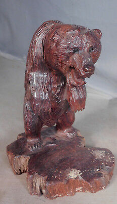 Vintage Modern Black Forest style Ironwood Bear Wood Carving Statue Live edge