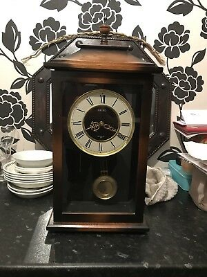 Antique Seiko Clock With Chimes And Pendulum small grandfather clock