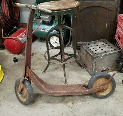 Vintage Antique Scooter Metal & Wood 1940s 1950s 60s Toy Decorative classic