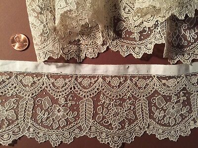 19th C. handmade Point de Gaze needle lace - edging  COLLECT COSTUME CRAFT