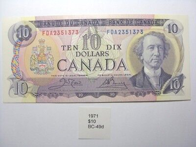 1971 Canada $10 Ten Dollar Note BC-49d Litho FDA Crow/Bouey (867) Crisp Unc