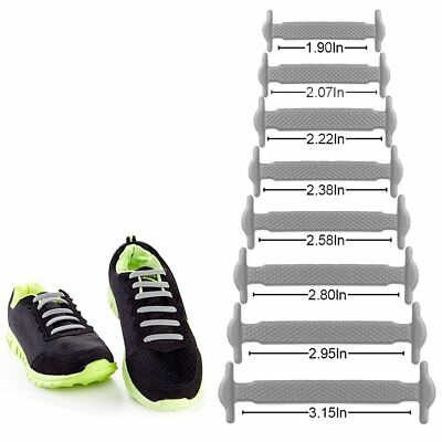 16 Pack Silicon No Tie Shoelaces Elastic System Laceless Shoe Lace Hickies white