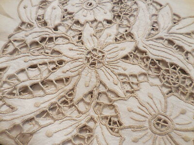 """VINTAGE Lace cutwork hand embroidered Poinsettia ivory Tablecloth  84"""" X 68"""""""
