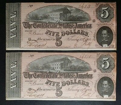 Two Consecutive 1864 $5 Confederate Notes; C.S.A. Currency From Late Civil War