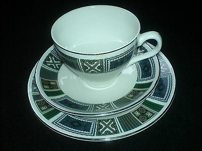 SWINNERTONS Cup/Saucer/Plate Trio Set  x 4  + 2 Cup/Saucers Green/ Brown  Design