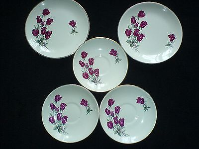 SWINNERTONS STAFF NESTOR VELLUM, SHEAF RED ROSES Plates x2 -7 inches + 3 Saucers