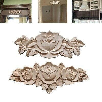 Pop Wood Applique Flower Shape Home Window Door Wooden Mouldings Decal Decor 1PC